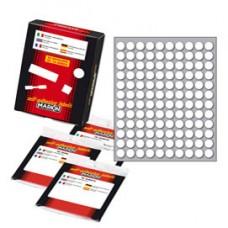 Etichetta adesiva - permanente -  tonda D 10 mm - 120 etichette per foglio - bianco - 10 fogli per confezione - Markin