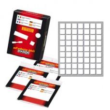 Etichetta adesiva - permanente - rettangolare - 14x14 mm - 63 etichette per foglio - 10 fogli per busta - bianco - Markin