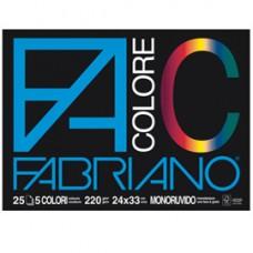 Blocco FaColore - 24x33cm - 25 fogli - 220gr - 5 colori - Fabriano