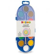 Pastiglie Acquerelli -  D 30mm - colori assortiti - Primo - astuccio da 12 pastiglie
