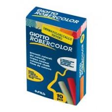 Gessetti Robercolor - lunghezza 80mm con diametro 10mm - colorati - Giotto - Scatola 10 gessetti tondi