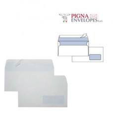 Busta bianca con finestra - serie Edera Strip - 110 x 230 mm - 90 gr - Pigna - conf. 500 pezzi
