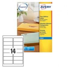 Etichetta in poliestere J8563 - adatta a stampanti inkjet - 99,1 x 38,1 mm - 14 etichette per foglio - trasparente - Avery -  conf. 25 fogli A4