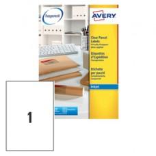 Etichetta in poliestere J8567 - adatta a stampanti inkjet - permanente - 210 x 297 mm - 1 etichetta per foglio - trasparente - Avery - conf. 25 fogli A4
