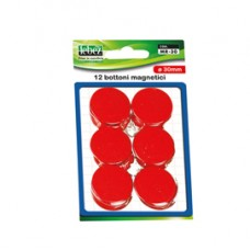Bottoni magnetici - rosso - diametro 30 mm - Lebez - blister 12 pezzi