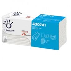Asciugamani piegati a C - 33 x 23 cm - goffratura a onda+ - 19,5 gr - bianco - Papernet - conf. 144 pezzi