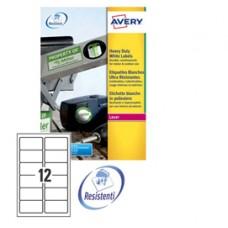 Etichetta in poliestere L4776  - adatta a stampanti laser - permanente - 99,1x42,3 mm - 12 etichette per foglio - bianco - Avery - conf. 20 fogli A4