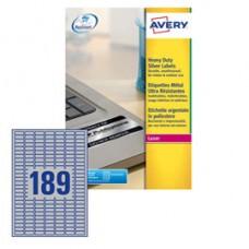 Etichetta in poliestere L6008 - adatta a stampanti laser - permanente - 24,5x10 mm - 189 etichette per foglio - argento - Avery - conf. 20 fogli A4