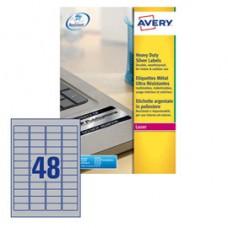 Etichetta in poliestere L6009  - adatta a stampanti laser - permanente - 45,7x21,2 mm - 48 etichette per foglio - argento - Avery - conf. 20 fogli A4