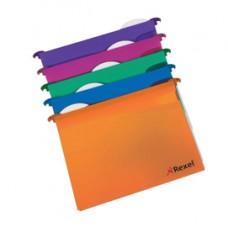 Cartelle sospese - cassetto - interasse 39 cm - fondo V - PPL - 36,6x24,2 cm - colori assortiti - Rexel - conf. 10 pezzi