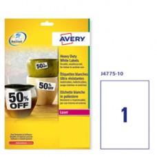 Etichetta in poliestere J4775 - adatta a stampanti inkjet - permanente - 210x297 mm - 1 etichette per foglio - bianco - Avery - conf. 10 fogli A4