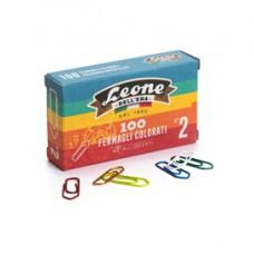 Fermagli metallizzati - lunghezza 26 mm - n. 2 - colori assortiti - Leone - conf. 100 pezzi