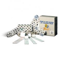 Rotolo per POS e carte di credito - carta chimica a 2 copie - 57 mm x 20 mt - diametro esterno 55 mm - anima 12 mm - Rotomar - blister 10 pezzi