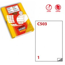 Etichetta in poliestere C503 - adatta a stampanti laser - permanente - 210x297 mm - 1 etichette per foglio - trasparente opaco - Markin - scatola da 50 fogli A4