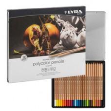 Pastelli colorati Rembrandt Polycolor - 3,7 mm - colori assortiti - Lyra - astuccio metallo 24 pezzi