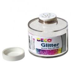 Barattolo Glitter  - grana fine - 150ml -  bianco/iride - DECO