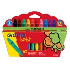 Pastelli cera super - lunghezza 7,5mm con D 11mm - colori assortiti - Giotto bebe - astuccio 10 superpastelloni