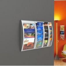 Espositore da parete Quick Fit System - 5 tasche 1/3 A4 - grigio - Paperflow