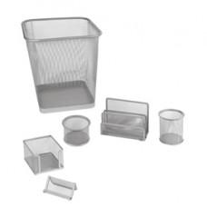 Set scrivania da 6 accessori - rete metallica - argento - Lebez
