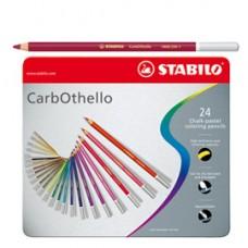Matite colorate CarbOthello - tratto 4,40 mm - colori assortiti - Stabilo - astuccio in metallo 24 pezzi