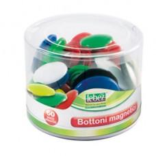 Bottoni magnetici tondi - misure e colori assortiti - Lebez - barattolo da 60 pezzi