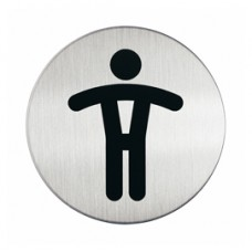 Pittogramma adesivo - WC uomini - acciaio - diametro 8,3 cm - Durable