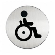 Pittogramma adesivo - WC diversamente abili - acciaio - diametro 8,3 cm - Durable