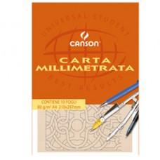 Blocco carta opaca millimetrata - 210x297mm - 10 fogli - 80gr - Canson