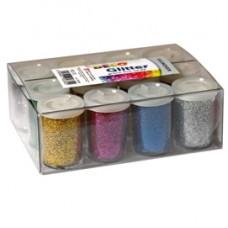 Glitter flacone grana fine - 25ml - colori assortiti - DECO - conf. 12 flaconi