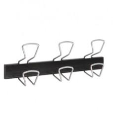 Appendiabiti da muro - 46,5x7,2x16,5 cm - 3 posti - metallo/ABS - nero/grigio metallizzato - Alba