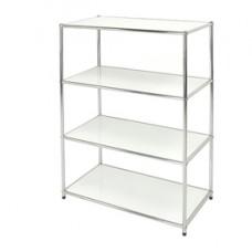 Libreria Easy System - 4 ripiani - acciaio cromato - 80x40x120 cm - bianco - Serena Group