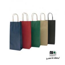 Portabottiglie in carta - maniglie cordino - 14 x 9 x 38cm - nero - conf. 20 sacchetti