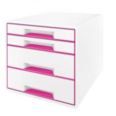 Cassettiera 4 cassetti bianco/rosa leitz cube