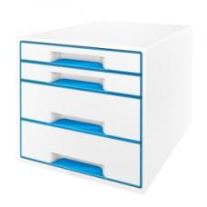 Cassettiera 4 cassetti bianco/azzurro leitz cube