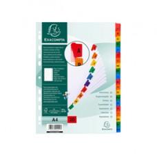 Separatore alfabetico A/Z - cartoncino bianco 160 gr - tasti colorati - A4 - Exacompta