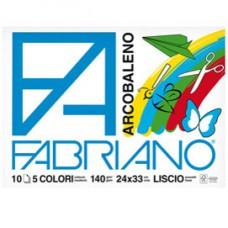 Album Arcobaleno - 24x33cm - 10 fogli - 140gr - 5 colori - Fabriano