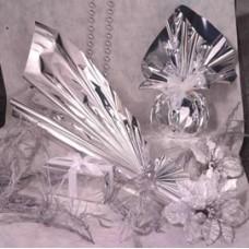 Buste regalo in PPL - metal lucido - argento - 16 x 21 + 4cm - con patella adesiva - PNP - conf. 50 buste