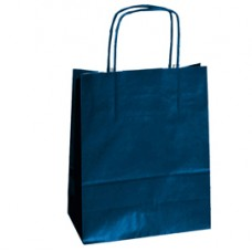 Shopper in carta - maniglie cordino - 18 x 8 x 24cm - blu - conf. 25 sacchetti