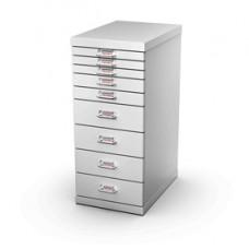 Cassettiera in acciaio - 9 cassetti - 29x43x67 cm - grigio - Tecnical 2
