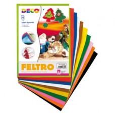 Feltro colorato - 21 x 30 cm - colori assortiti - Deco - conf.10 fogli