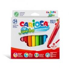 Pennarelli Jumbo - punta 6,0mm - colori assortiti - lavabili - Carioca - scatola 24 pezzi