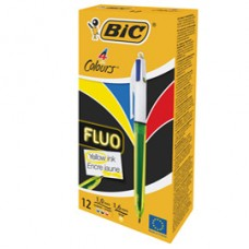 Penna a sfera a scatto multifunzione 4 Colors Fluo  - punta 1,0/1,6mm - 4 colori fluo - fusto giallo fluorescente - Bic - conf. 12 pezzi