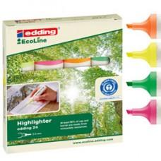 Evidenziatore 24 EcoLine - punta a scalpello - tratto da 2,0-5,0mm - astuccio 4 colori  - Edding