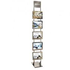 Espositore da pavimento Freestanding LEDMAG - 5 cornici magnetiche A4 retroilluminate a LED - altezza 200 cm - Tecnostyl