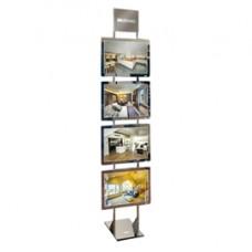 Espositore da pavimento Freestanding LEDMAG - 4 cornici magnetiche A3 retroilluminate a LED - altezza 200 cm - Tecnostyl
