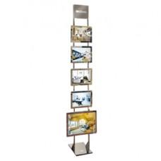 Espositore da pavimento Freestanding LEDMAG - 1 cornice A3 + 4 cornici A4 (magnetiche, retroilluminate a LED) - altezza 200 cm - Tecnostyl