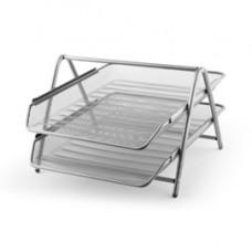 Vaschetta portacorrispondenza - 2 ripiani - rete metallica - 35,5x30x21 cm - argento - Lebez