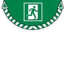 Adesivo segnalatore da terra Take Care - Uscita di emergenza - 70x35 cm - CEP