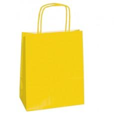 Shopper in carta - maniglie cordino - 14 x 9 x 20cm - giallo - conf. 25 sacchetti