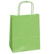 Shopper in carta - maniglie cordino - 14 x 9 x 20cm - verde mela - conf. 25 sacchetti